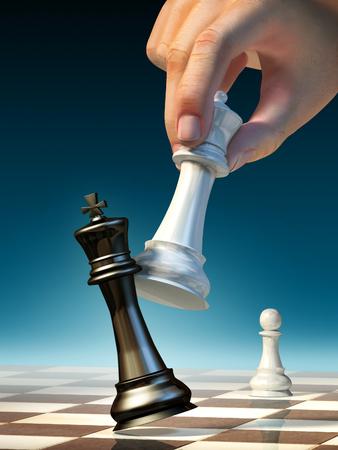 White queen moves to win a chess game. Digital illustration. Archivio Fotografico