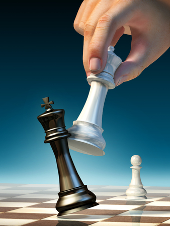 White queen moves to win a chess game. Digital illustration. Banco de Imagens