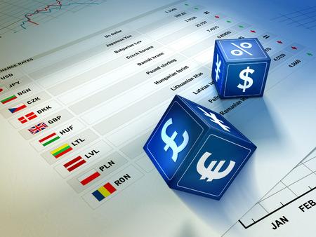 Twee dobbelen met muntsymbolen rollen op een wisselkoers tafel. Digitale illustratie.
