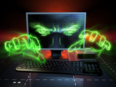 Menacing eyes and hands coming out from a computer monitor. Digital illustration.