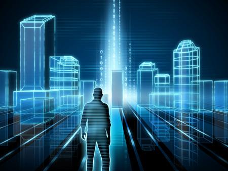 Wire-frame rendering of a modern city. Digital illustration. Standard-Bild