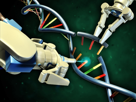 Two robotic arms modifying a dna helix. Digital illustration.