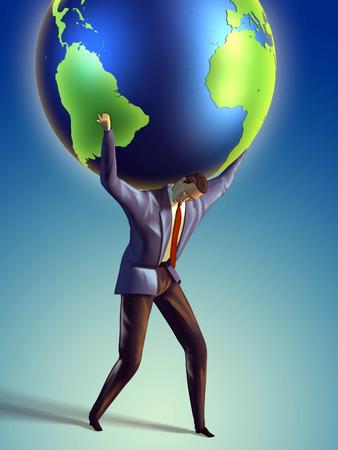 ビジネスマンその肩の上に地球にかかります。デジタル イラストレーション 写真素材