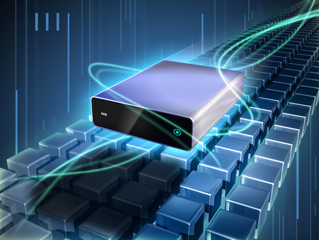 Hard disk enclosure flying through a beautiful cyber scene with rows of cubes and glowing lines. Digital illustration.