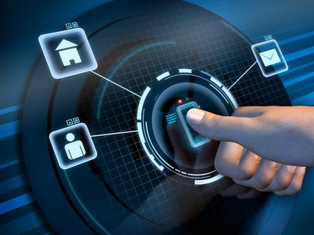Fingerprint recognition used to access a software interface. Digital illustration. Reklamní fotografie - 31970247