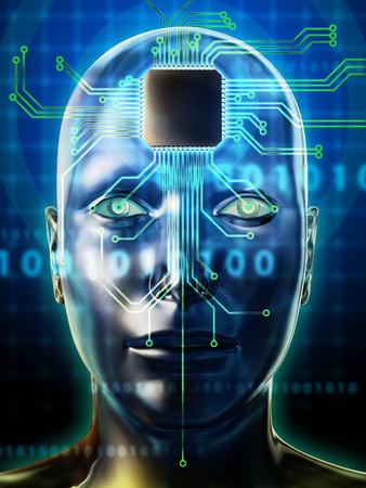 頭部の脳とマイクロプロセッサ。デジタル イラストです。 写真素材