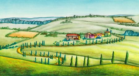 Landelijk landschap in Italië. Originele aquarel illustratie. Stockfoto