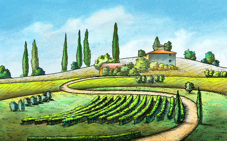 Italian country landscape. Original digital painting. Reklamní fotografie - 31970285