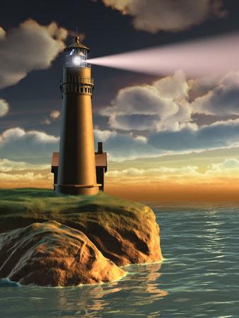 Gorgeous landscape with a lighthouse at sunset. Digital illustration.