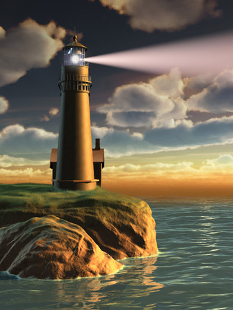 Gorgeous landscape with a lighthouse at sunset. Digital illustration.