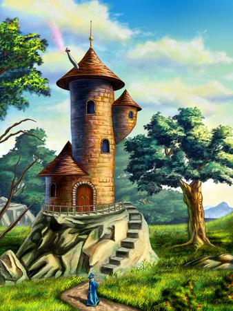 メイジ タワーのある風景をファンタジーしますデジタル イラスト
