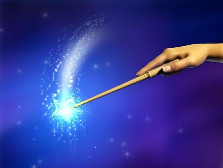 마법의 지팡이 사용하여 여성 손입니다. 디지털 그림입니다.