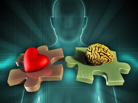 心と脳の 2 つの一致するパズルのピースを背景に人間の姿。デジタル イラストです。
