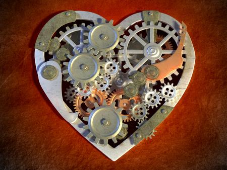 歯車機構は、心臓の形を作成します。デジタル イラスト。