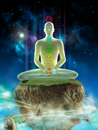 Man meditating in an imaginary landscape. Chakra points visible on his body. Digital illustration.