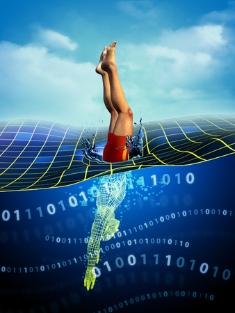 Man diving from physical reality to a digital dimension. Digital illustration. Stock Illustration - 31970330