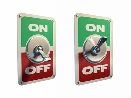 Old style metal switches, on and off position. Digital illustration, clipping path included.