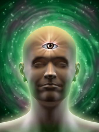 男性の頭部、額の真ん中に開いている第三の目を持つ。デジタル イラストです。