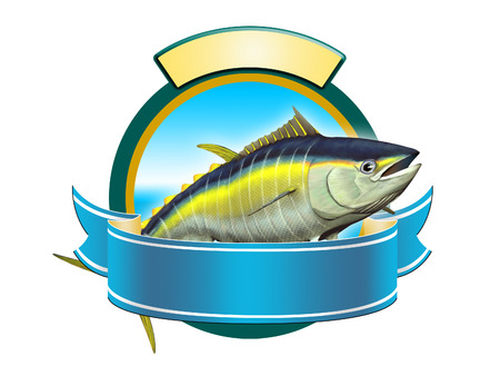 Yellow-fin tuna label, copy space available to insert your text. Digital illustration. Imagens