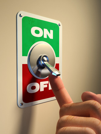 Finger pressing on an old style metal switch. Digital illustration. Archivio Fotografico