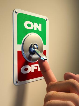 Finger pressing on an old style metal switch. Digital illustration. Banque d'images