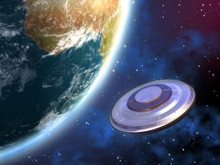 神秘的な宇宙船の軌道を回る惑星地球。デジタル イラストレーション