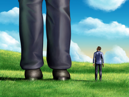 A regular-sized businessman is looking at the giant legs of a competitor. Digital illustration. Banque d'images