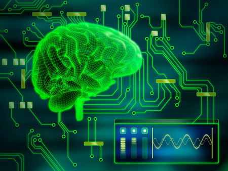 중앙 처리 유닛과 같은 인간 두뇌. 디지털 그림입니다. 스톡 콘텐츠