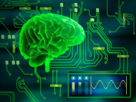 An human brain as a central processing unit. Digital illustration. 스톡 콘텐츠