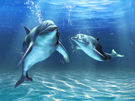 Two dolphins happily swimming in the ocean. Digital illustration Stock Photo