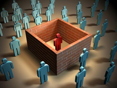 일부 벽돌 벽은 다른 사람과 다른 개인을 격리 할 것. 디지털 그림.