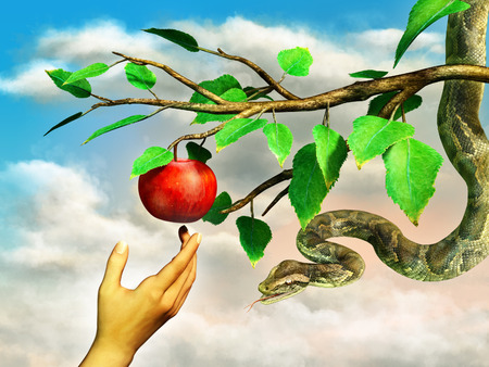 Eva's hand reaching for the forbidden apple. A snake is hanging from the tree. Digital illustration.