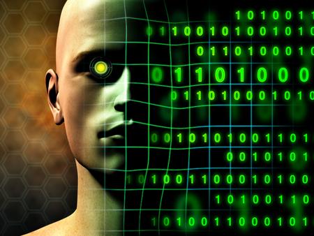 A cyborg face gradually fades into some binary code stream. Digital illustration.