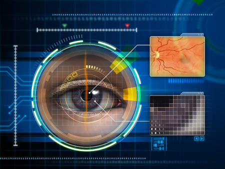 Human eye being scanned by a futuristic interface. Digital illustration. Фото со стока