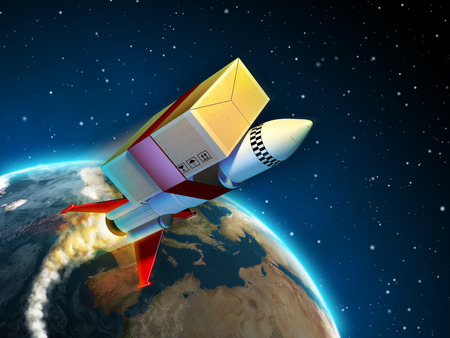 Package tied to a rocket flying to its destination. Digital illustration.