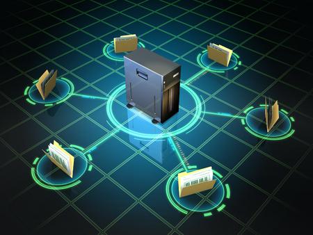 File folders connected to a desktop server. Digital illustration. Banco de Imagens - 31970448