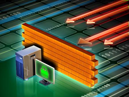 Personal computer beschermd tegen aanvallen van buitenaf door een bakstenen muur. Digitale illustratie.