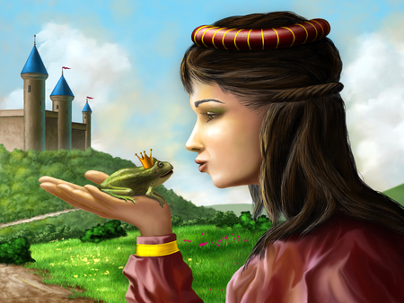 Young princess kissing a frog sitting on her hand. Digital illustration. 스톡 콘텐츠