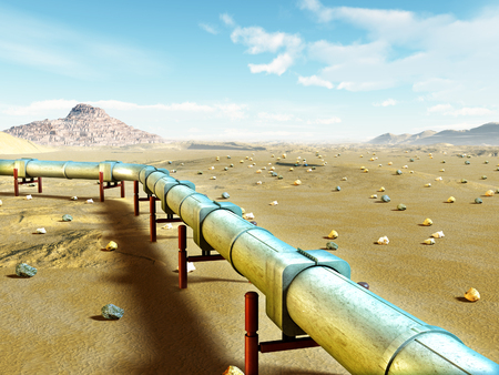 Modern gas pipeline running through a desert landscape. Digital illustration. Archivio Fotografico