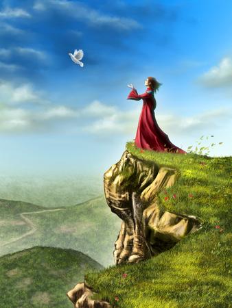 Une colombe est réglé libre de voler par une femme debout sur une falaise. Illustration numérique.