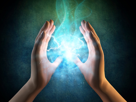 Two hands creating an energy sphere. Digital illustration.