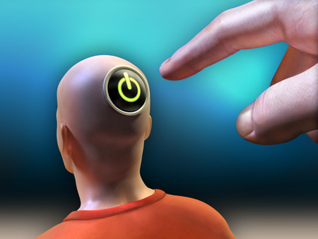 Hand is pushing a power button located on the head of a man. Inclueded clipping path to separate main objects from background. Digital illustration. Фото со стока