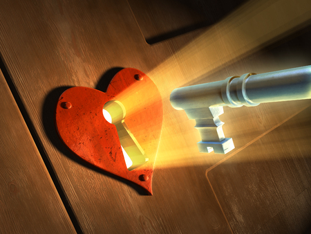 Light beams passing through an earth-shaped keyhole and illuminating a key in front of it. Digital illustration.