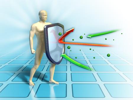 Immuunsysteem verdedigt het lichaam tegen aanvallen van buitenaf. Digitale illustratie.