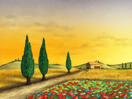 Beautiful farmland at sunset. Original digital illustration. Фото со стока