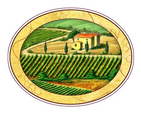 Beautiful vineyards landscape in an elliptical label.Digital illustration.