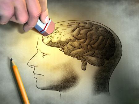 Alguien está borrando un dibujo del cerebro humano. Imagen conceptual relacionada con la pérdida de la demencia y la memoria. Ilustración digital.