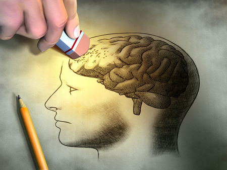 Someone is erasing a drawing of the human brain. Conceptual image relating to dementia and memory loss. Digital illustration. Stockfoto