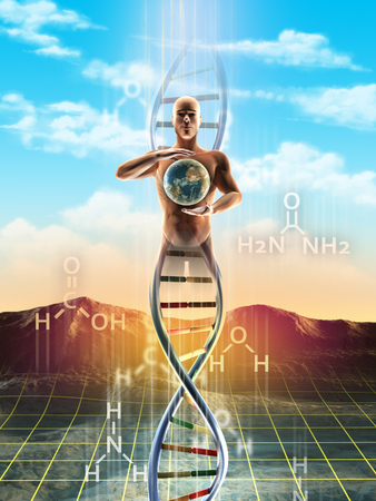 Origins of life: from simple molecules to dna. An human being materialize from dna and holds the Earth between its hands. Digital illustration. Фото со стока