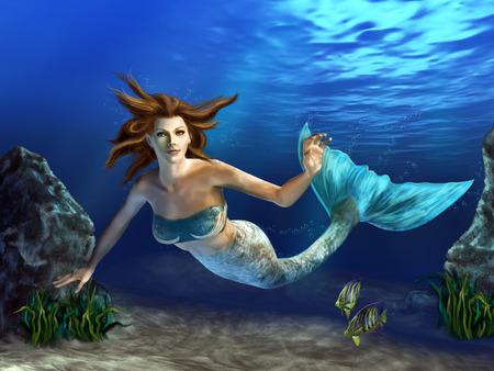 바위, 식물과 물고기에 의해 둘러싸인 푸른 바다에서 아름 다운 인 어 수영. 디지털 그림.